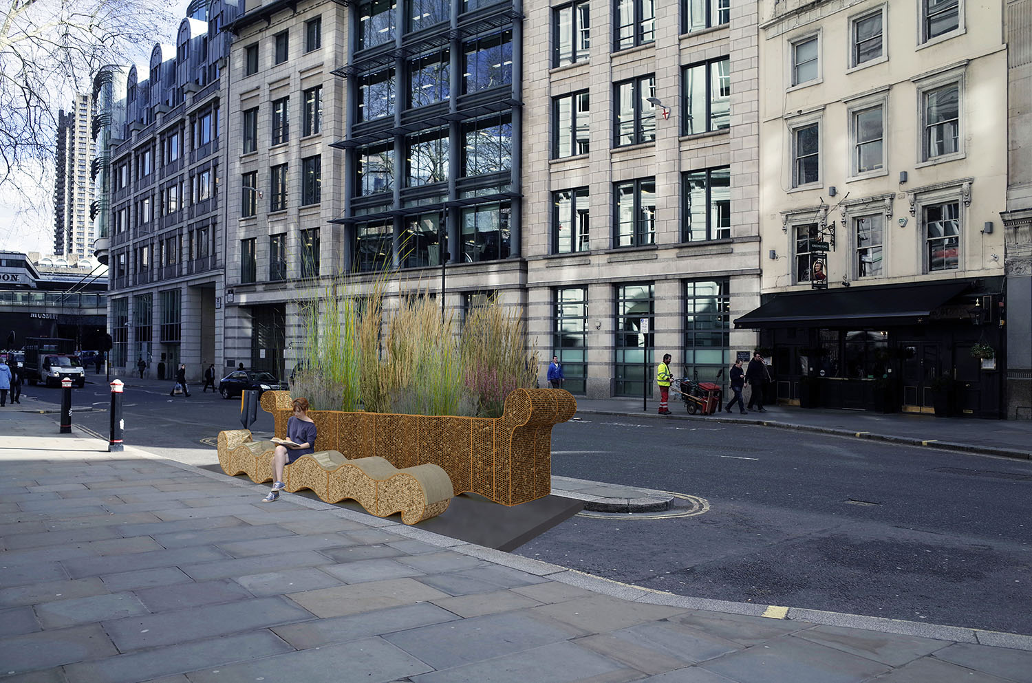 The bench and planter are both made from gabions modules   This construction and the long grasses reference a time when London was predominantly marshland, a situation far from today's harmful pollution levels. The large grasses form a wall screening the users of the bench from the hustle and bustle of the road.