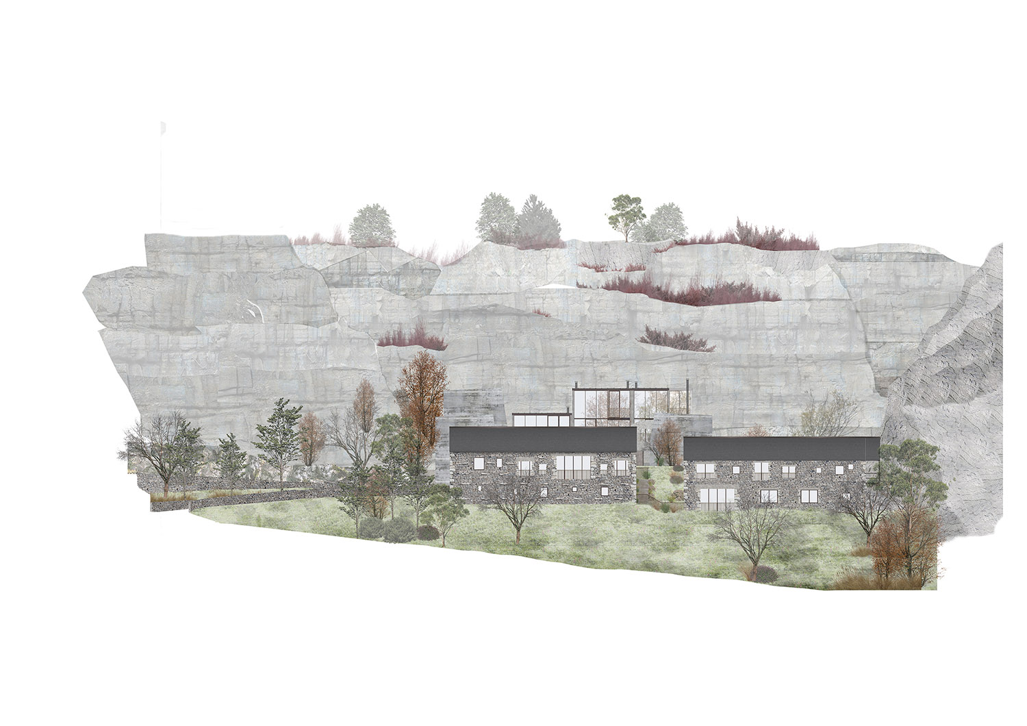 The vernacular bank barn typology is re-imagined in the quarry context