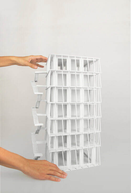 1:50 model of the lodge tower typology