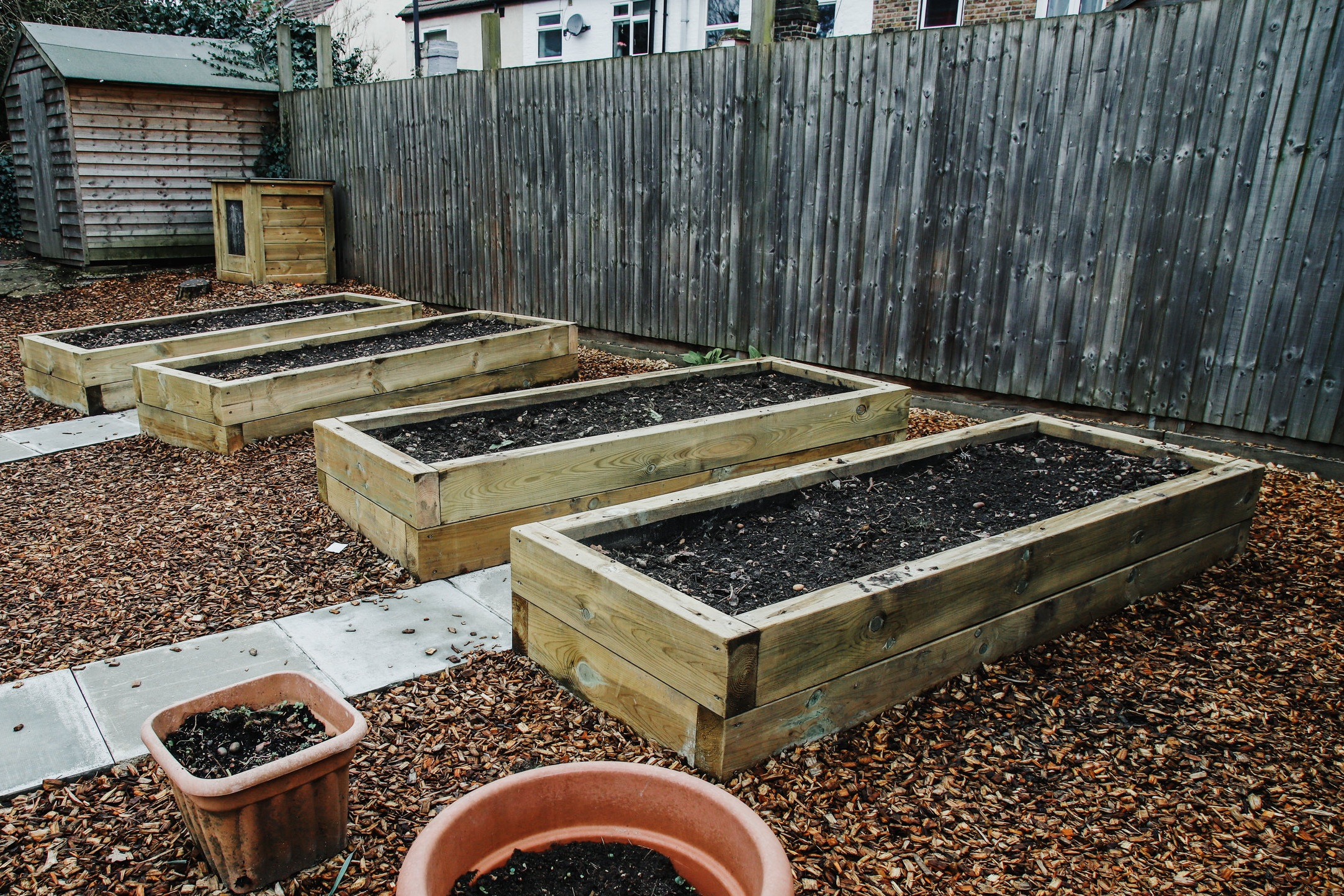 The beginnings of our vegetable garden (Les Enfants)