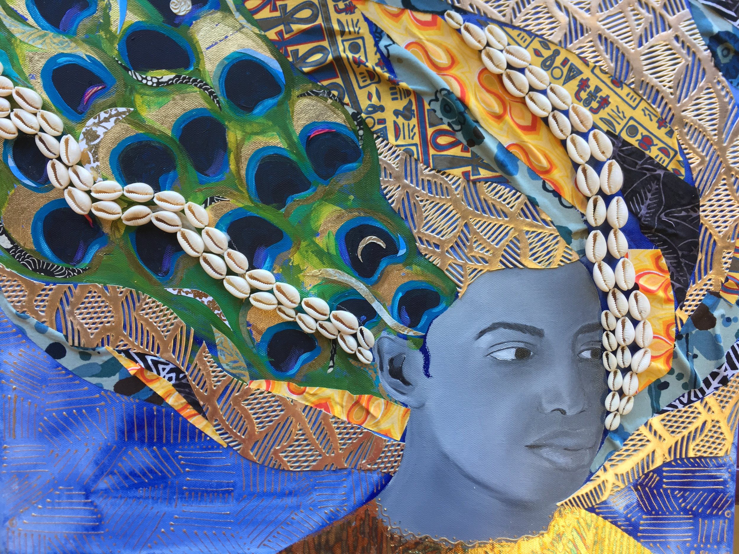 """Oshun,2019, Mixed Media (oil, acrylic, paper, gold leaf, fabric, and cowrie shells on canvas), 20"""" x 16"""""""