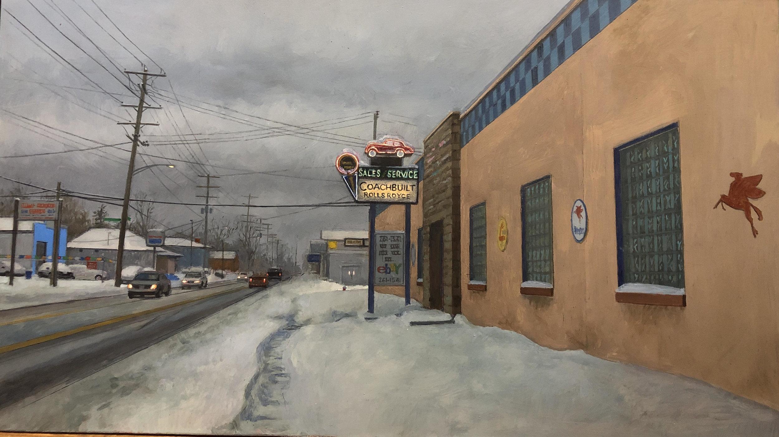 """""""East Hudson Street, Columbus, Ohio"""", oil on panel, 9"""" x 16"""""""