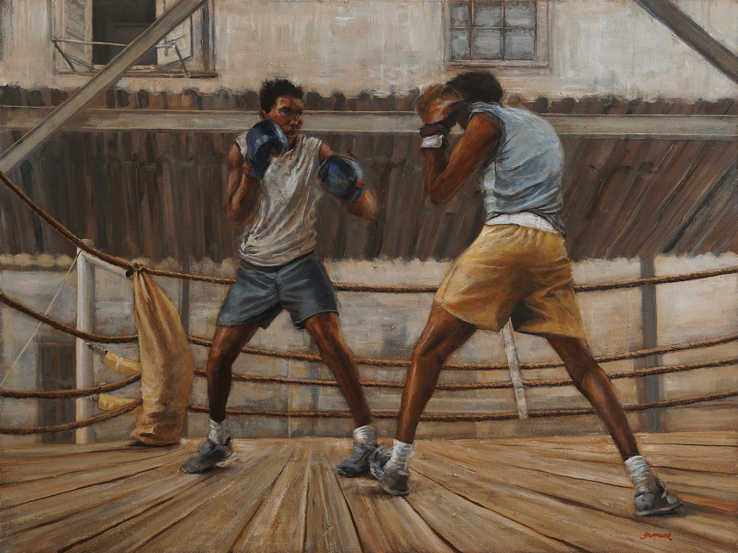 """""""Sparing at Rafael Trejo"""", acrylic and dryers on panel, 32""""x24"""""""