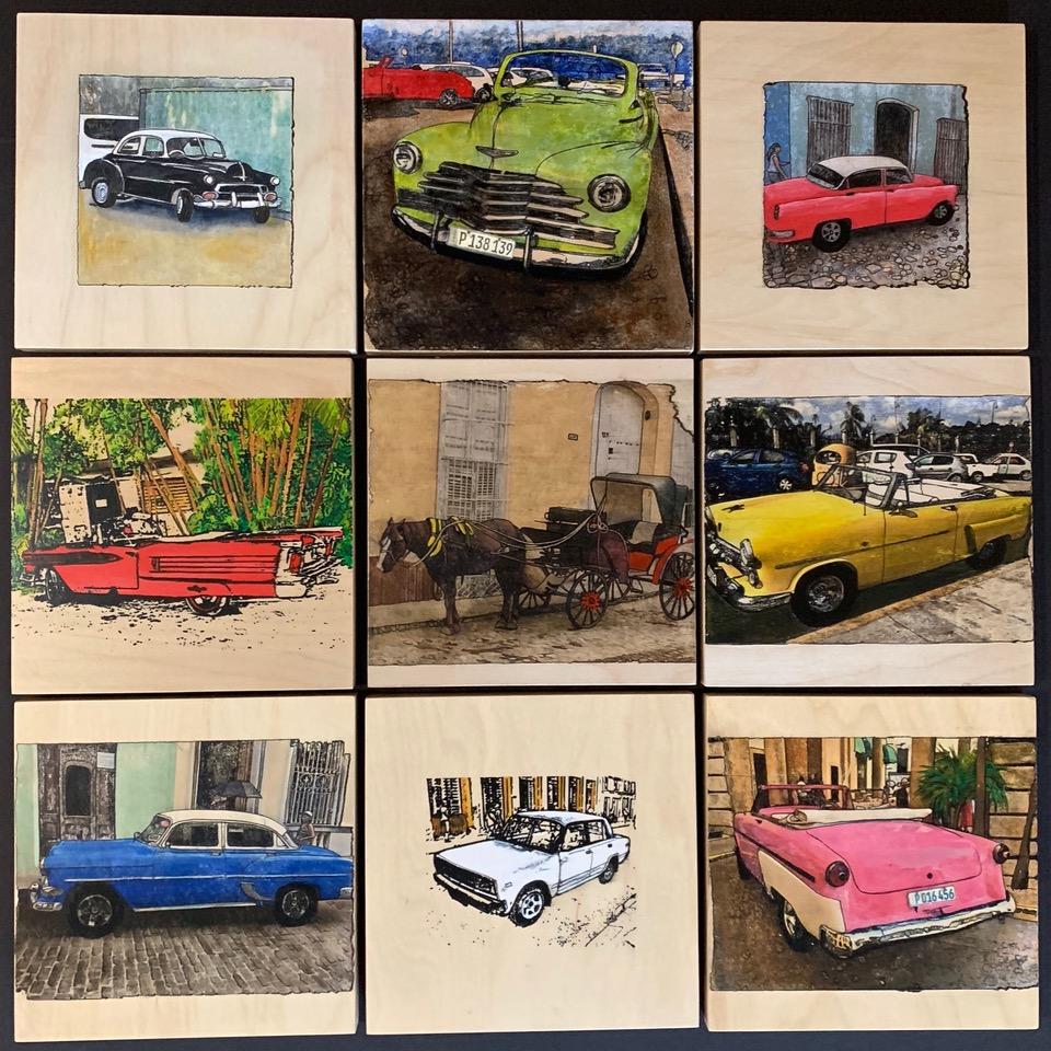 """""""Out and About, Cuba""""; 26""""x 26""""x1.5""""; Transferred Inks from artist's photos onto wood panels, embellished with paint, inks; black floating frame"""