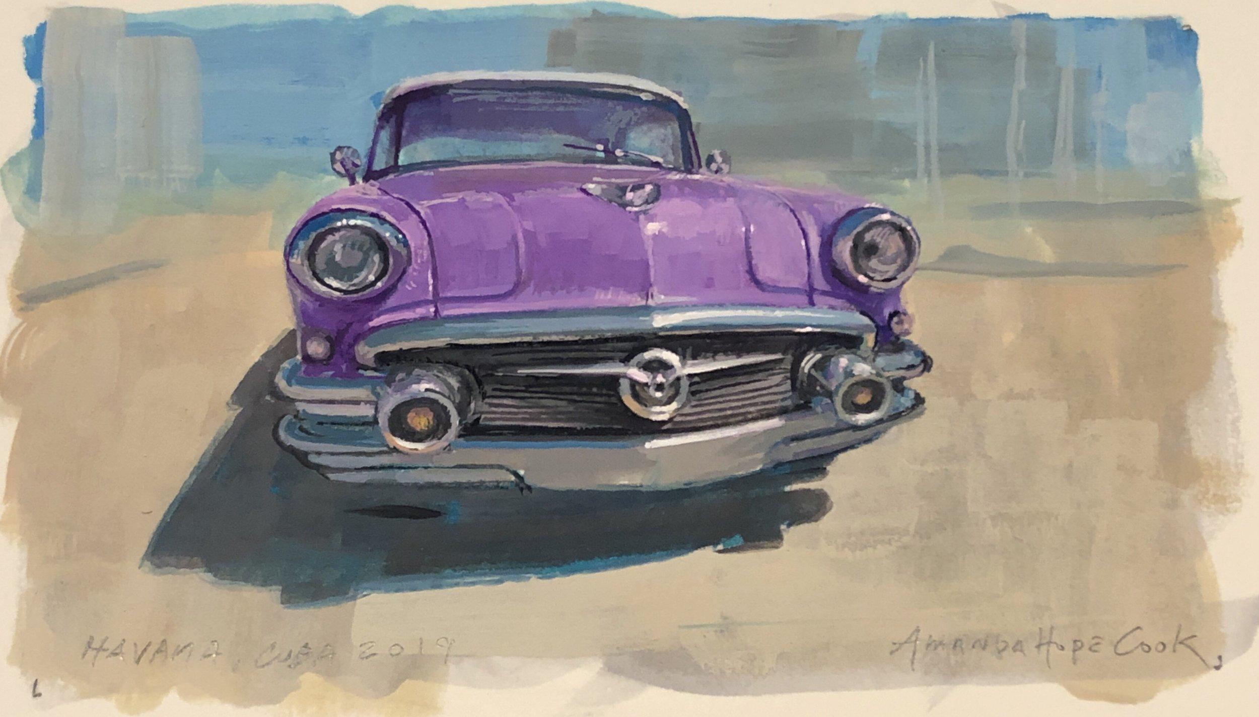 """""""Buick, Havana"""", Gouache on paper, 2019"""
