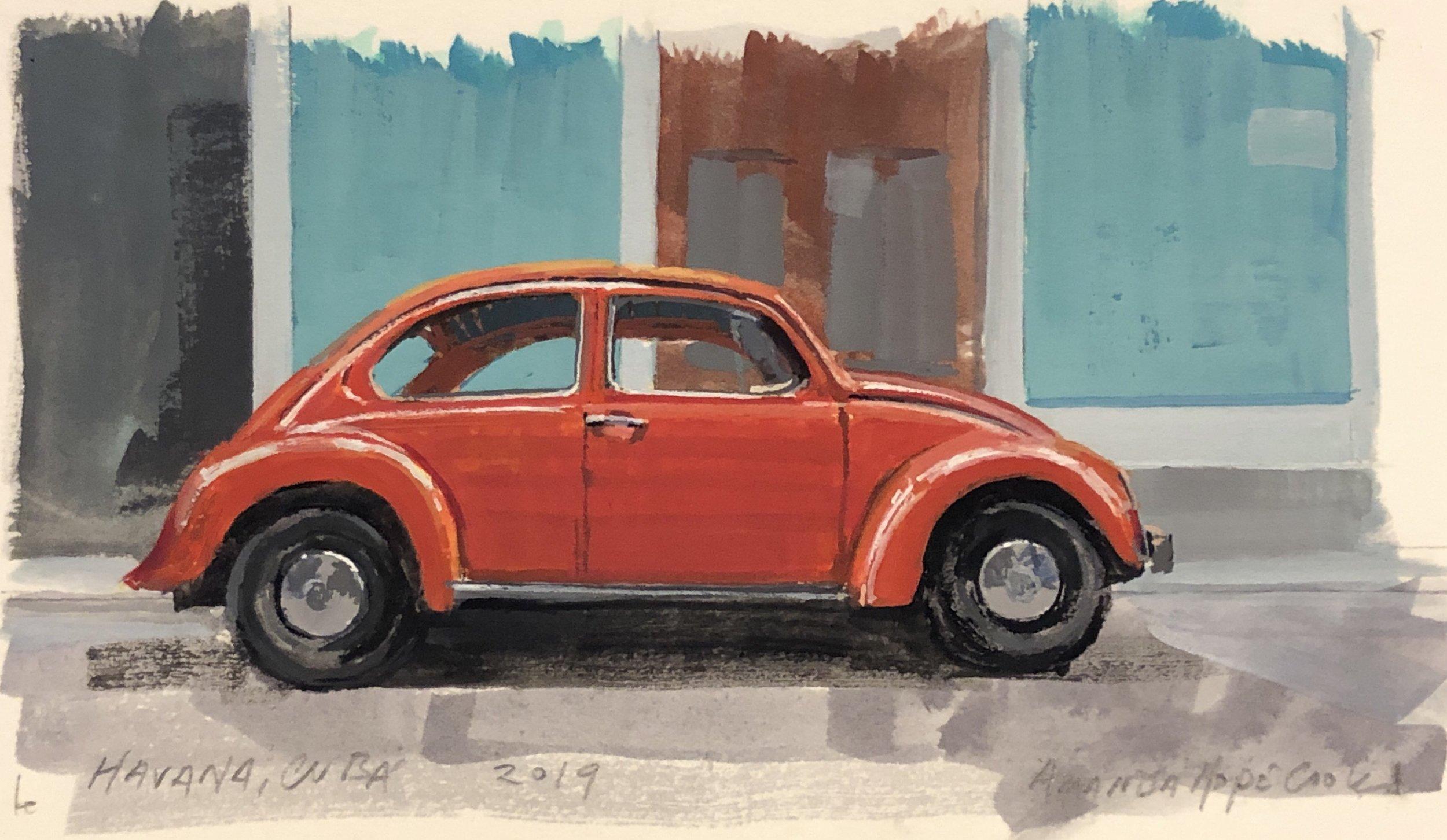 """""""Volkswagen, Havana"""", Gouache on paper, 2019"""