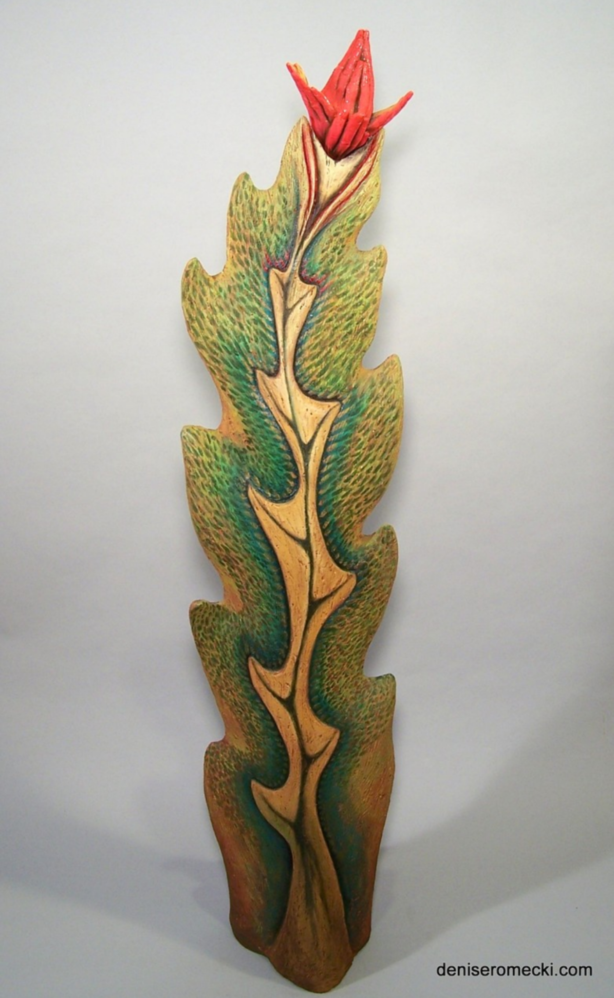 """Tropical Encounter"", Stoneware, glaze, and paint, 51 x 14 x 1"""