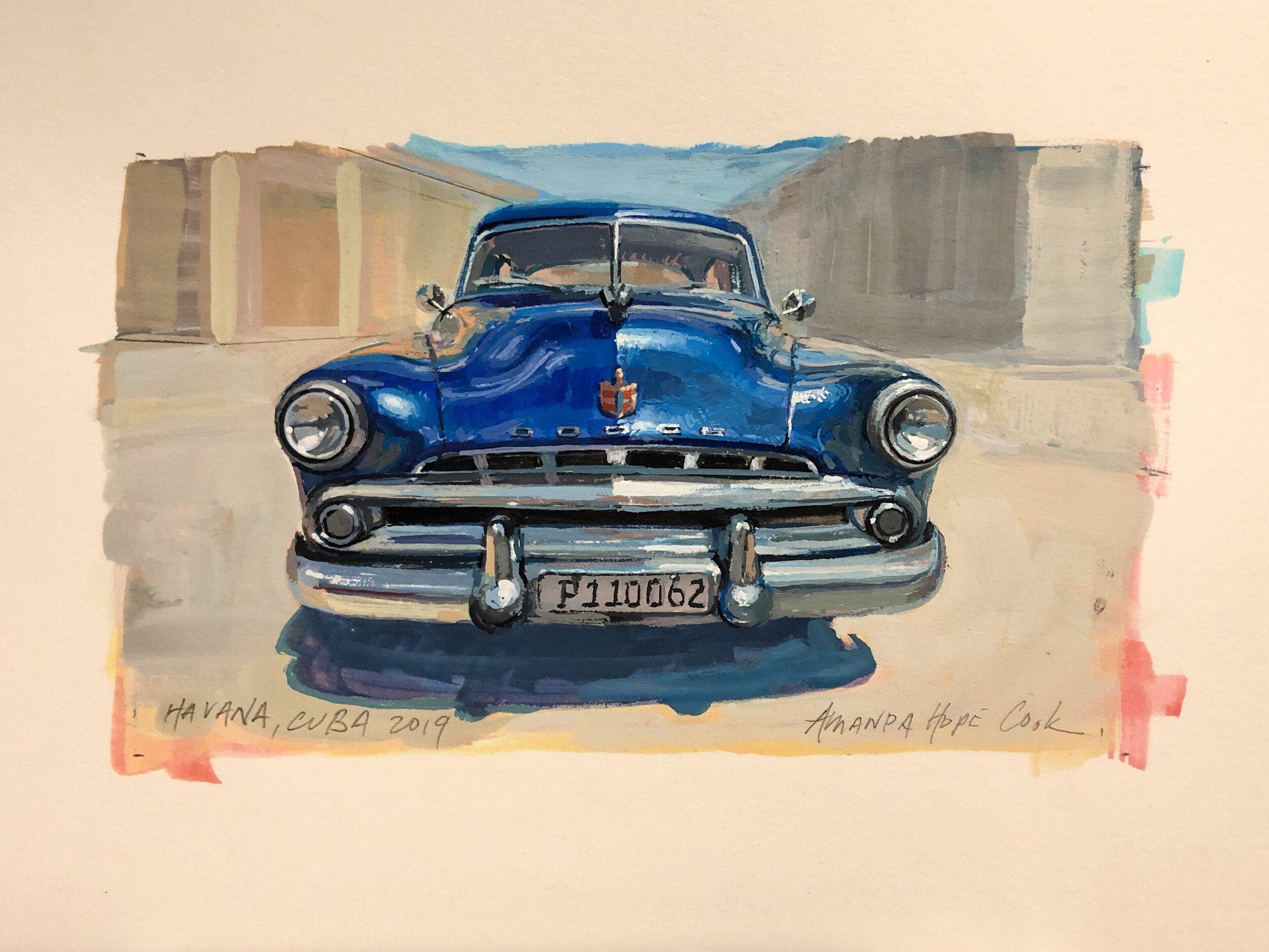 """""""Dodge, Havana"""", Gouache on paper, 2019"""