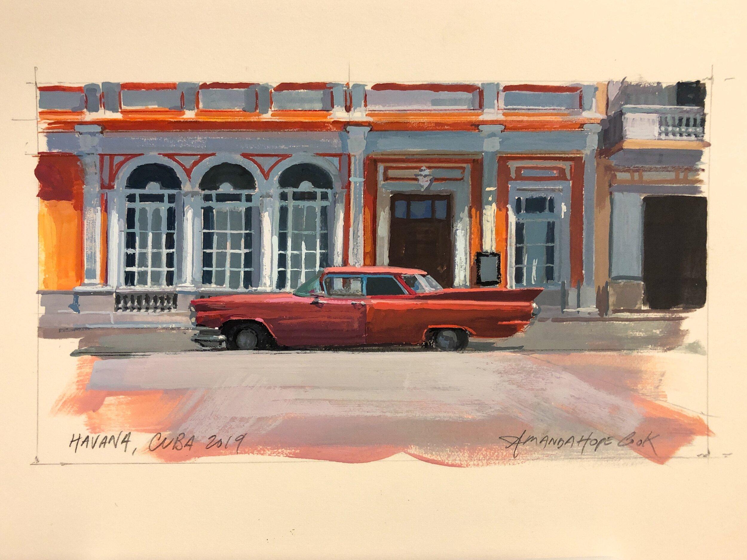 """Cadillac, Havana"", Gouache on paper, 2019"
