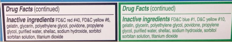 The list of ingredients in this daytime and nighttime cold and flu formula don't sound very healthy to me-- food colorings, artificial sweeteners, and even shallac (which is what they put in nail polish to prevent it from smudging on your nails).