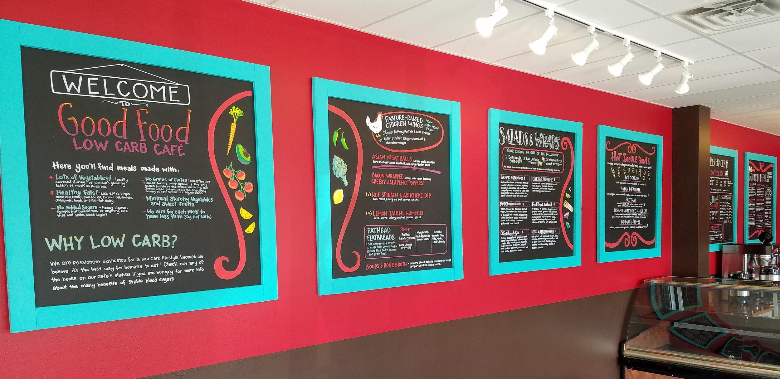 Good Food Low Carb Cafe Chalkboard Menus