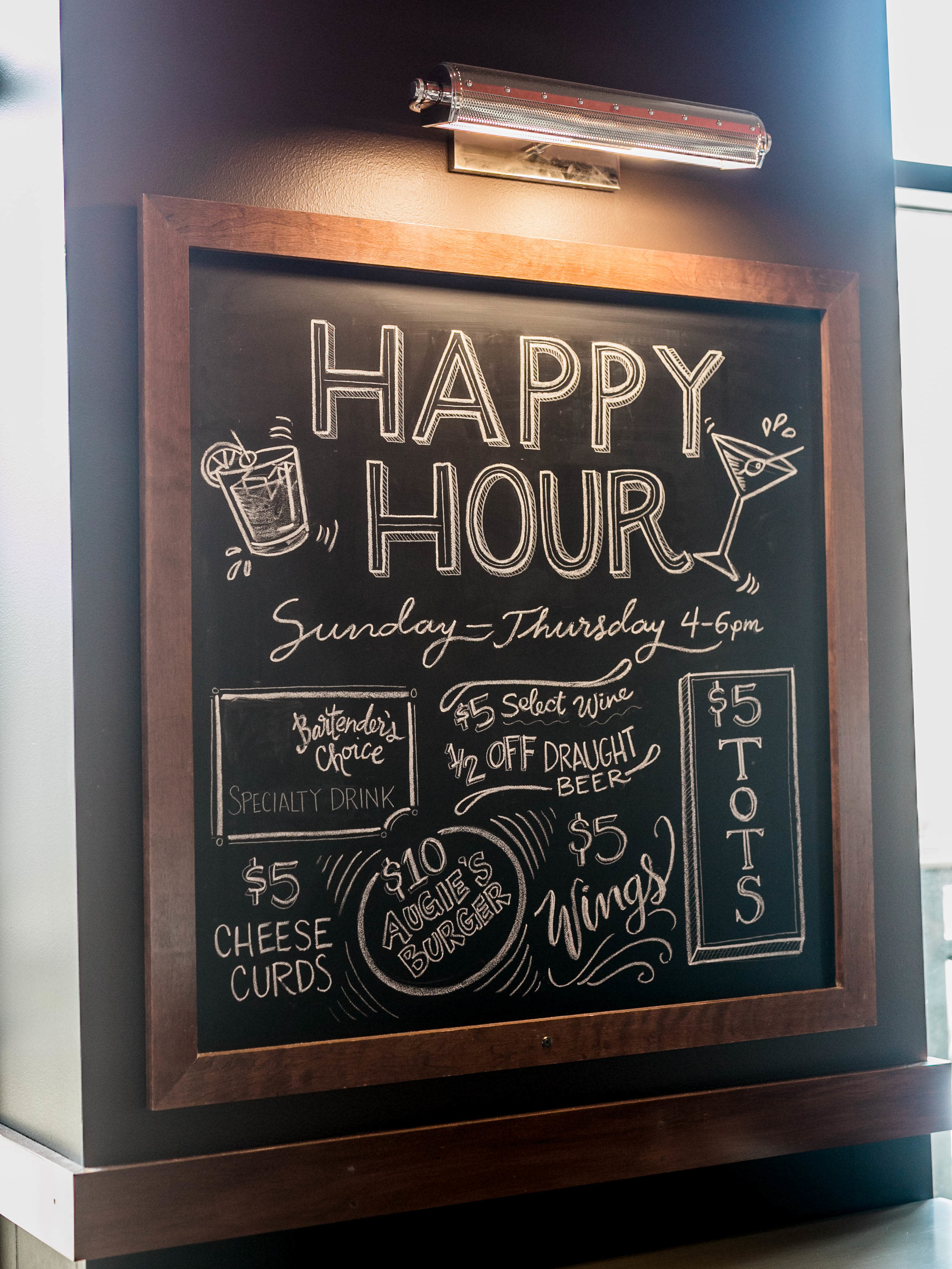 The Edgewater Hotel Happy Hour Sign