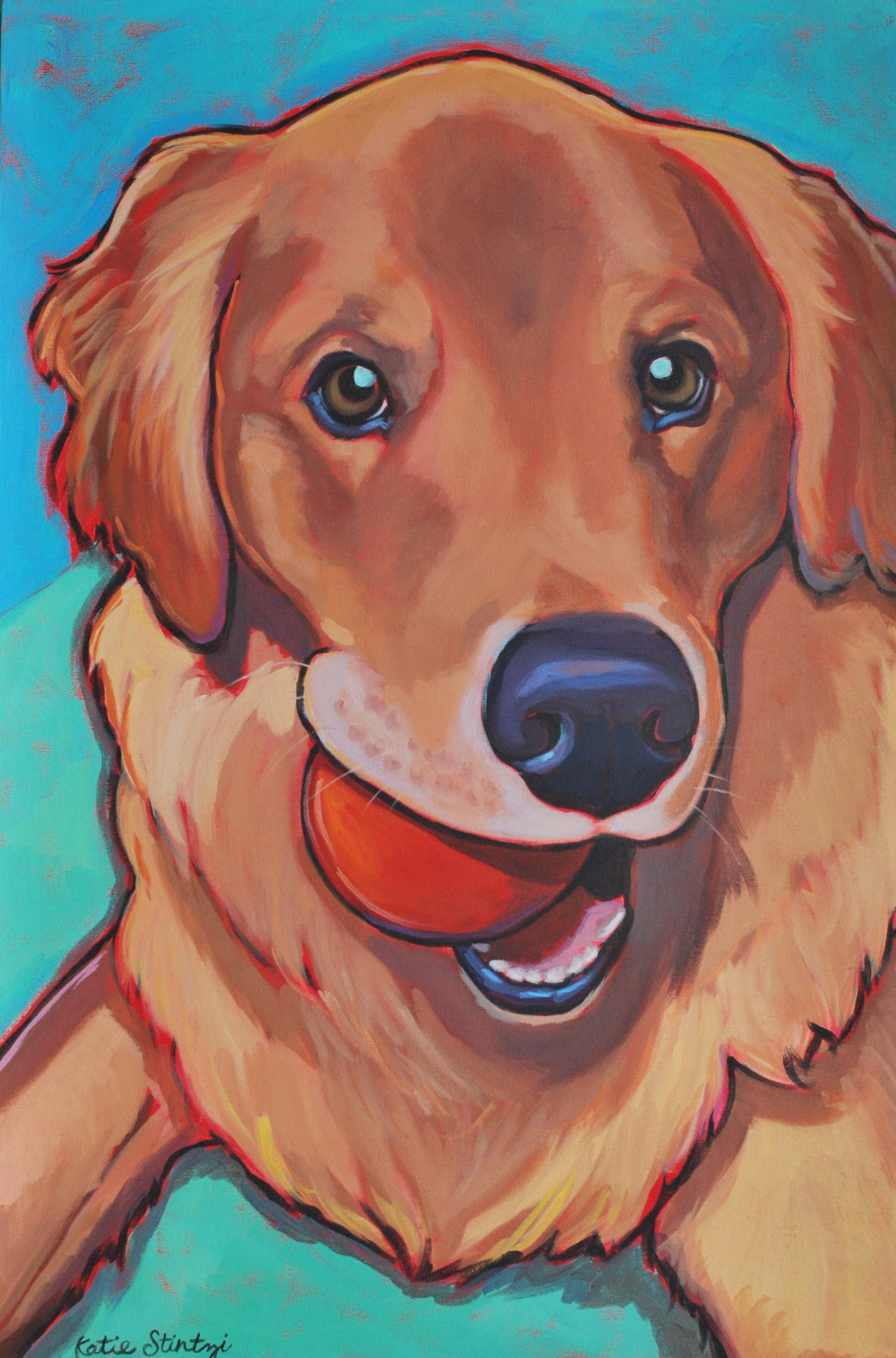 Golden Retriever Painting Pet portrait Artist Paint my pet Canvas.jpg