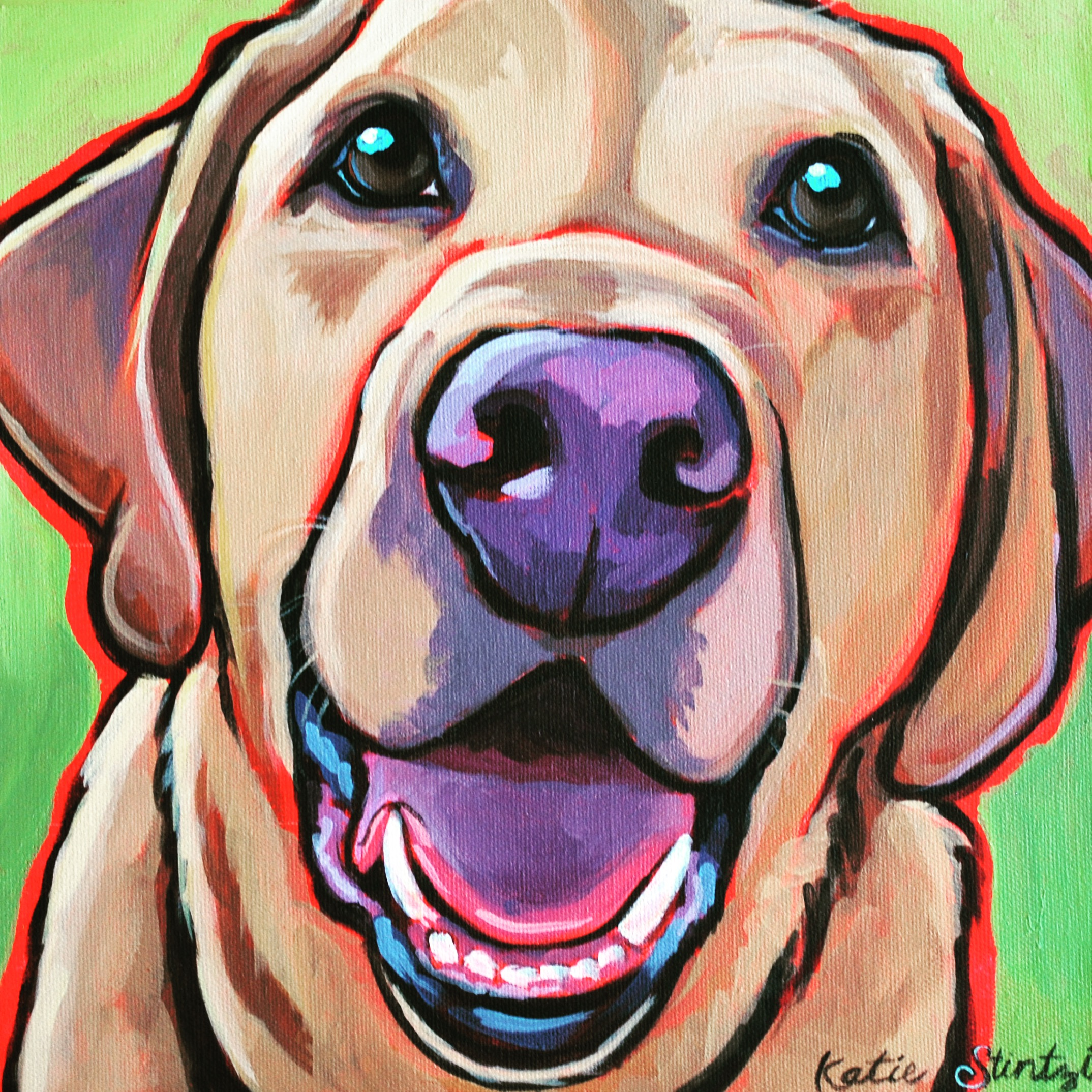 Yellow Labrador Retriever Yellow Lab Happy Dog Pet Portrait Painting Artist.JPG
