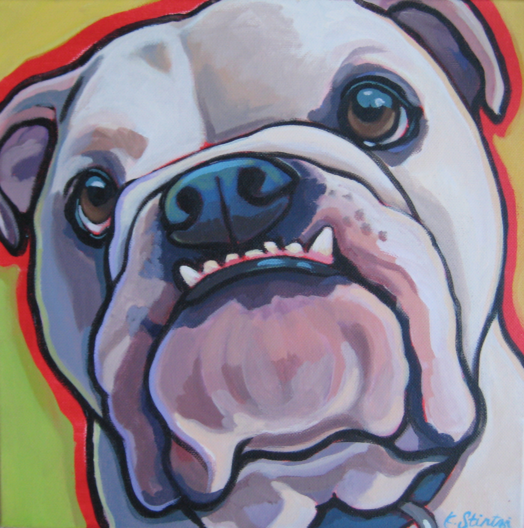 English Bulldog pet portrait painting.JPG