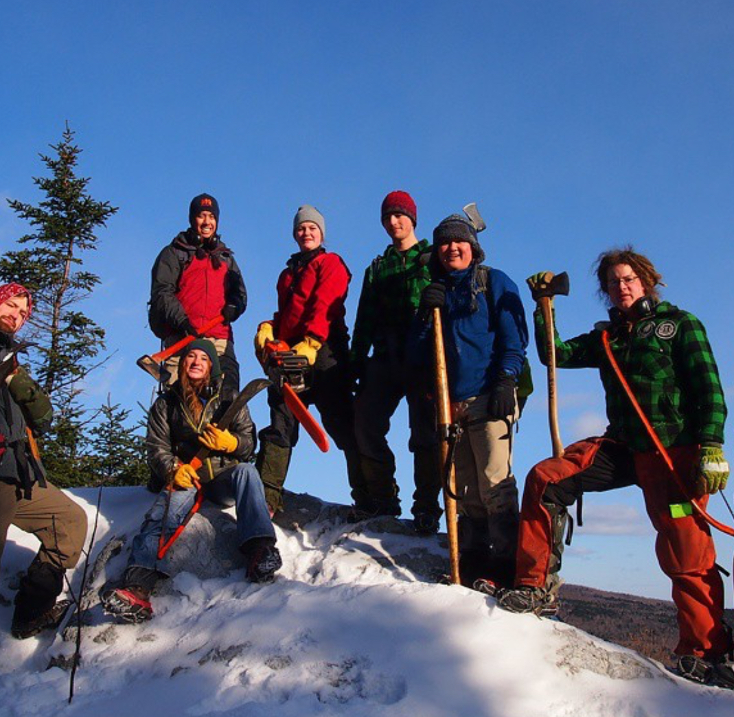 Cabin and Trail staffers repairing Appalachian Trail.