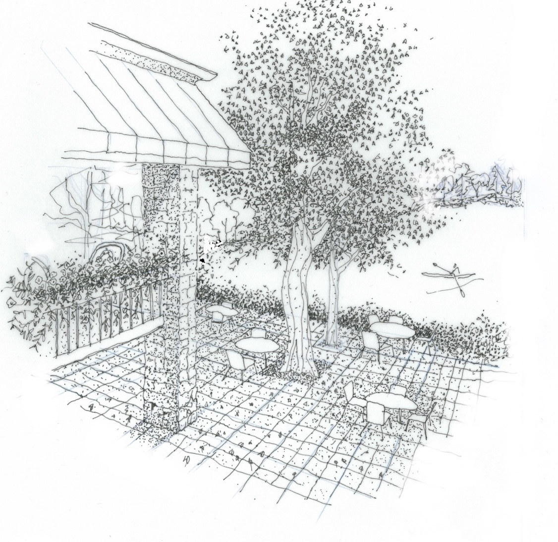The sketch shows the porch where people must have dined while looking over the pond and patio diners below at ground level. The canopy and flower boxes decorated the porch.