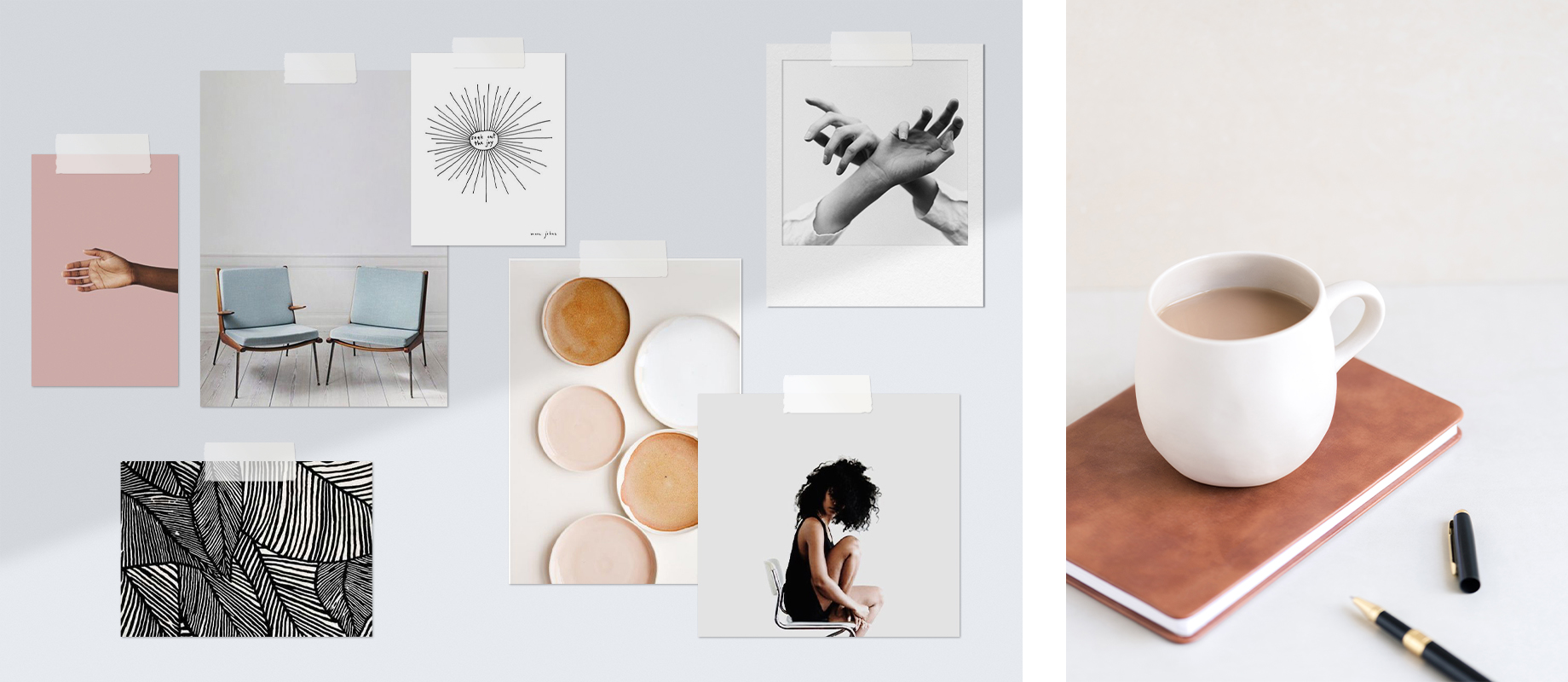 Moodboard with images, colours, and illustrations