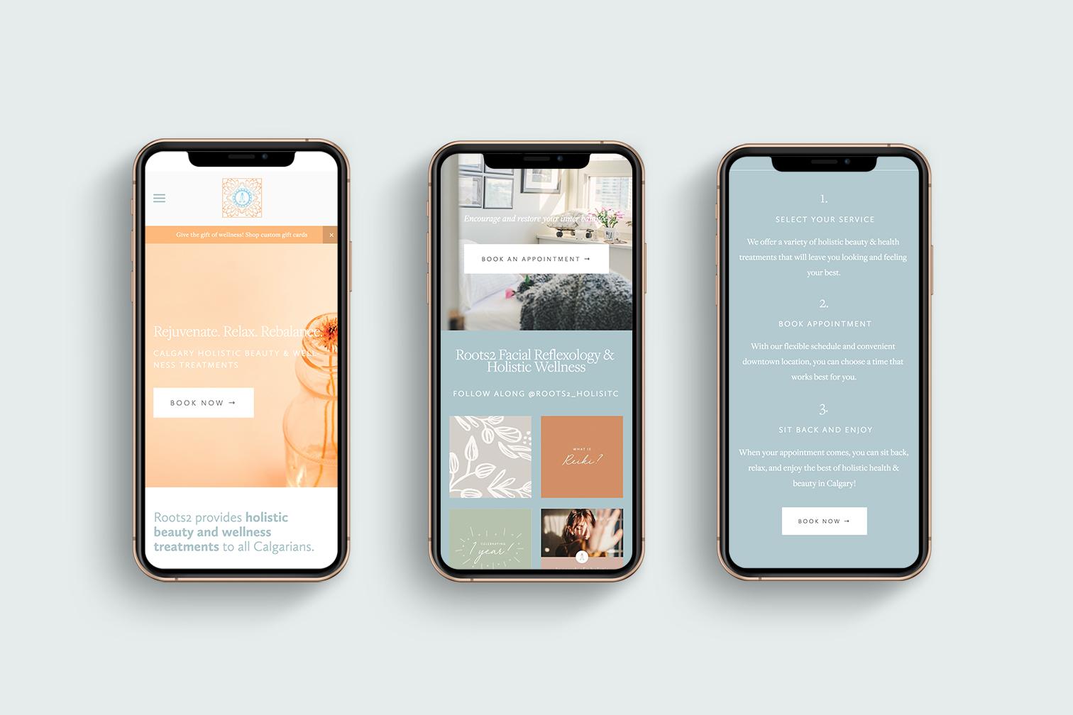 Roots2 website on three iPhones