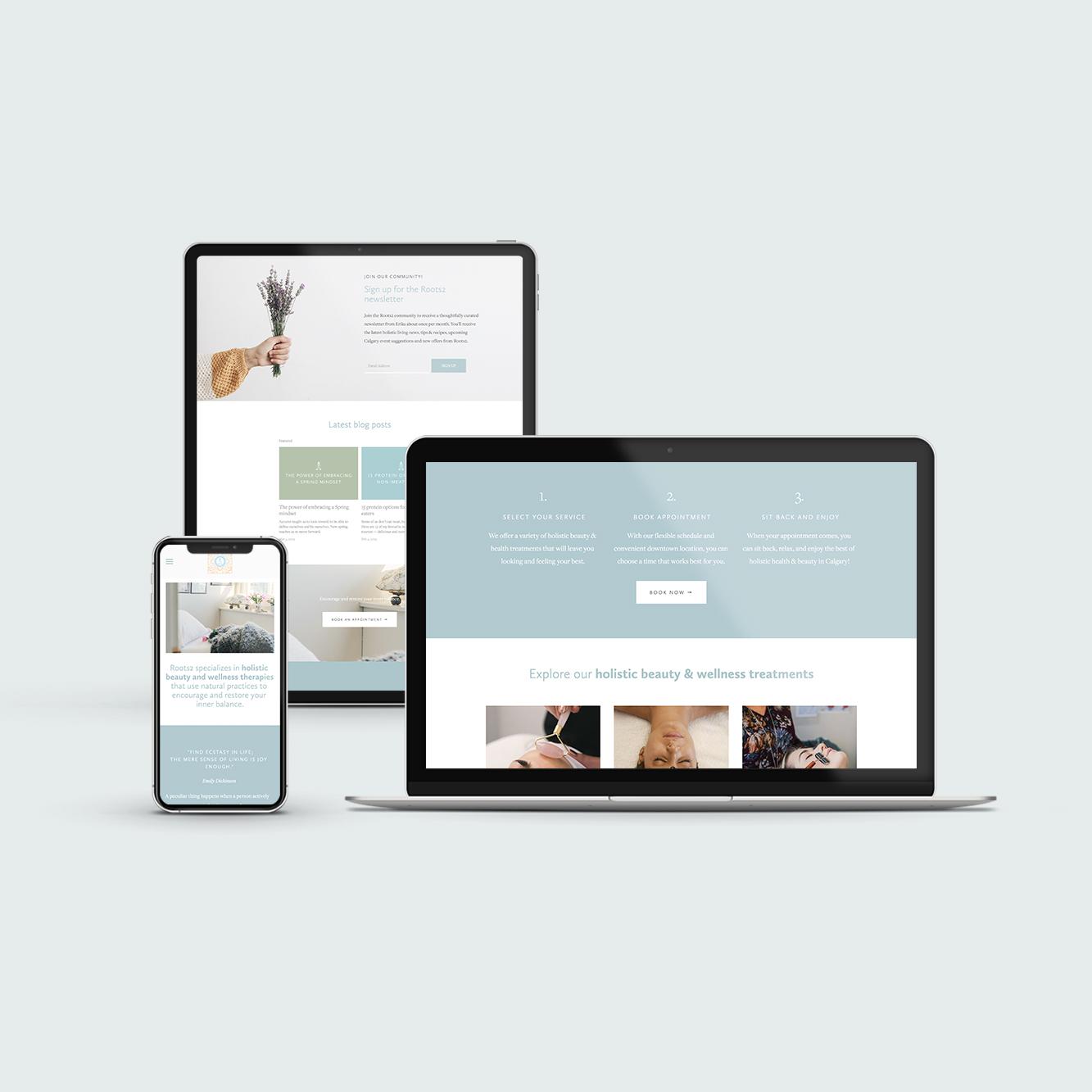 Roots2 responsive website design on computers, ipad, iphone