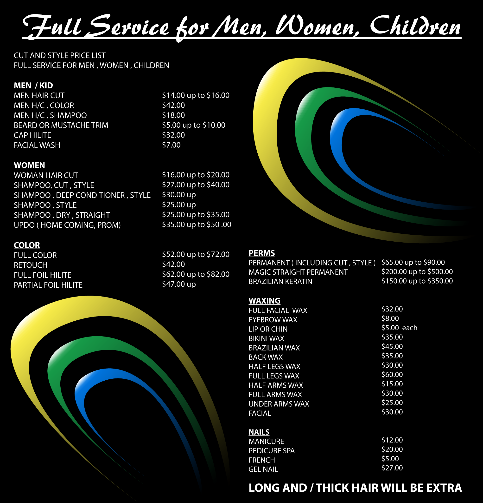 Services Pricing Cut Style Hair Salon