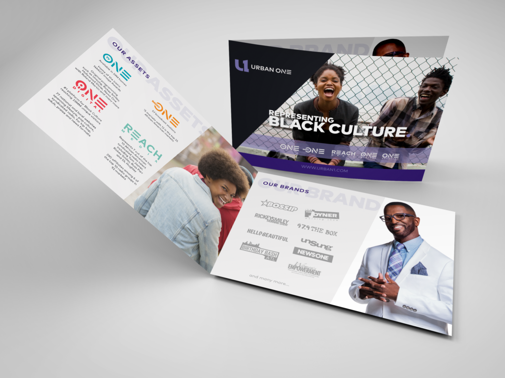 Urban One Brand Booklet - This booklet was created for the sales teams to hand out to clients.  This booklet lays out all of the Urban One assets and gives the client an idea of how the platform reaches.