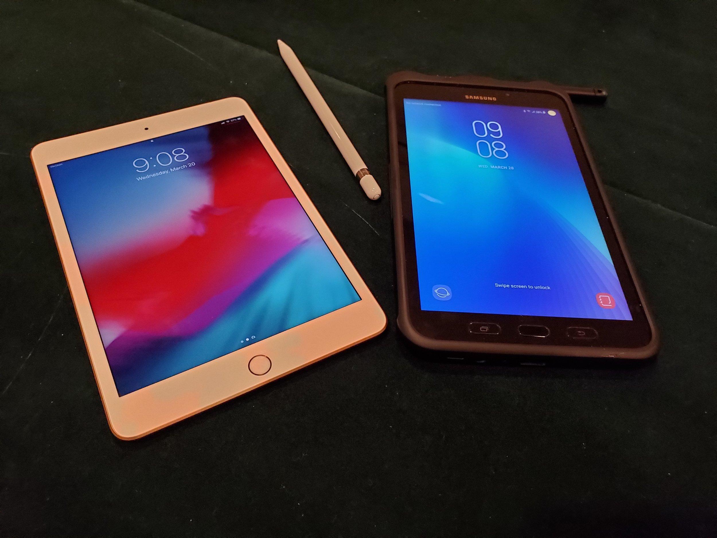 Apple iPad mini and Samsung Galaxy Tab Active2
