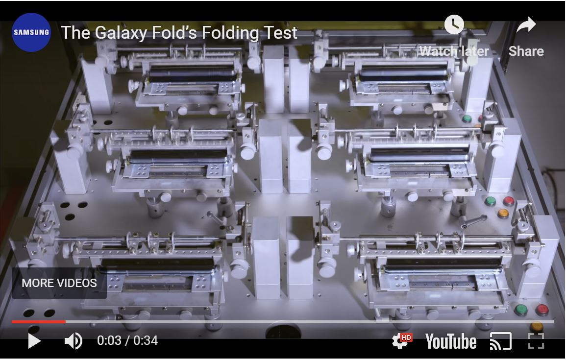 Samsung robots testing Galaxy Fold display and hinge for up to 200,000 folds