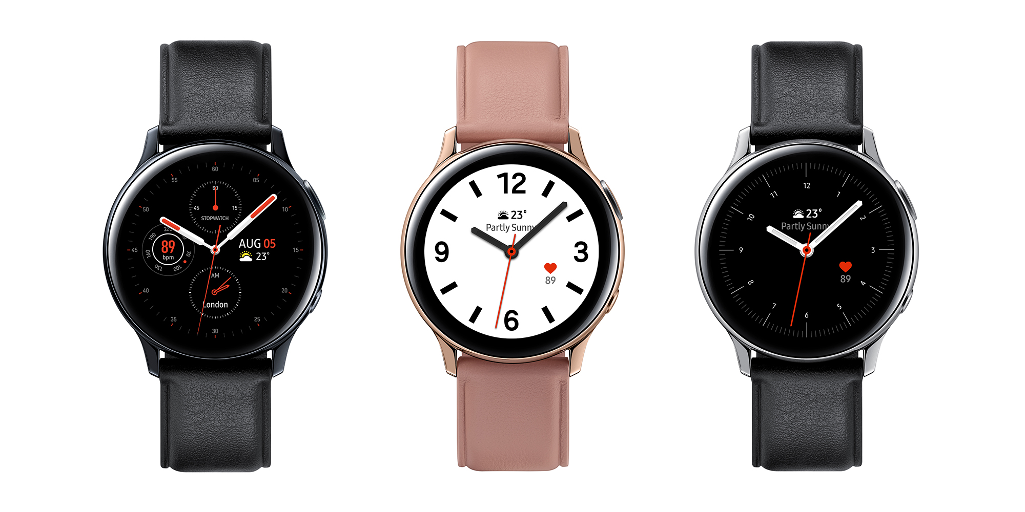 Samsung Galaxy Watch Active2 - stainless steel/leather strap versions