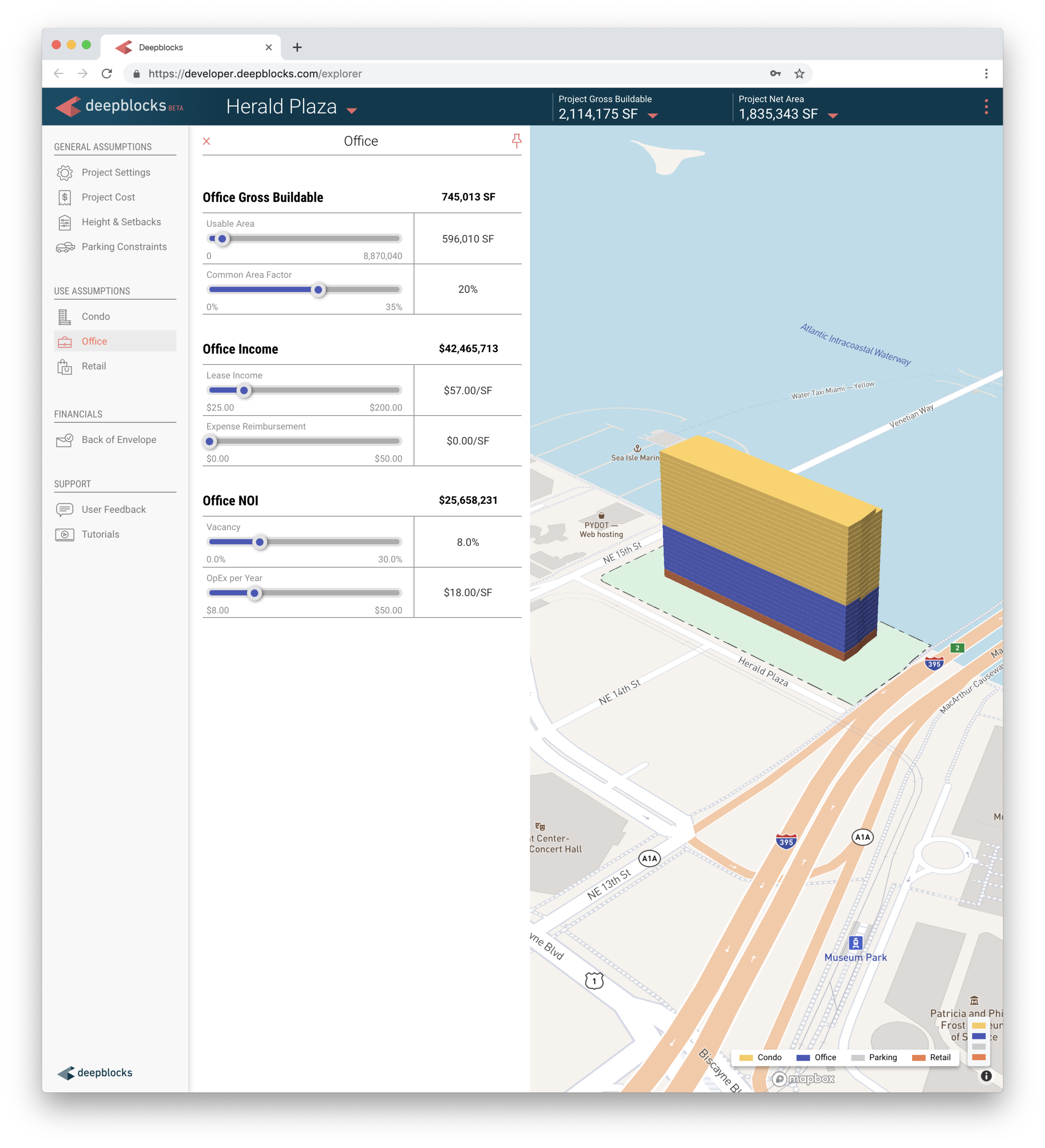 Screen capture of Deepblocks software showing the Office panel, with sliders to adjust parameters such as Office Gross Buildable, Office Income, and Office NOI. Next to it is the resulting stacking plan.