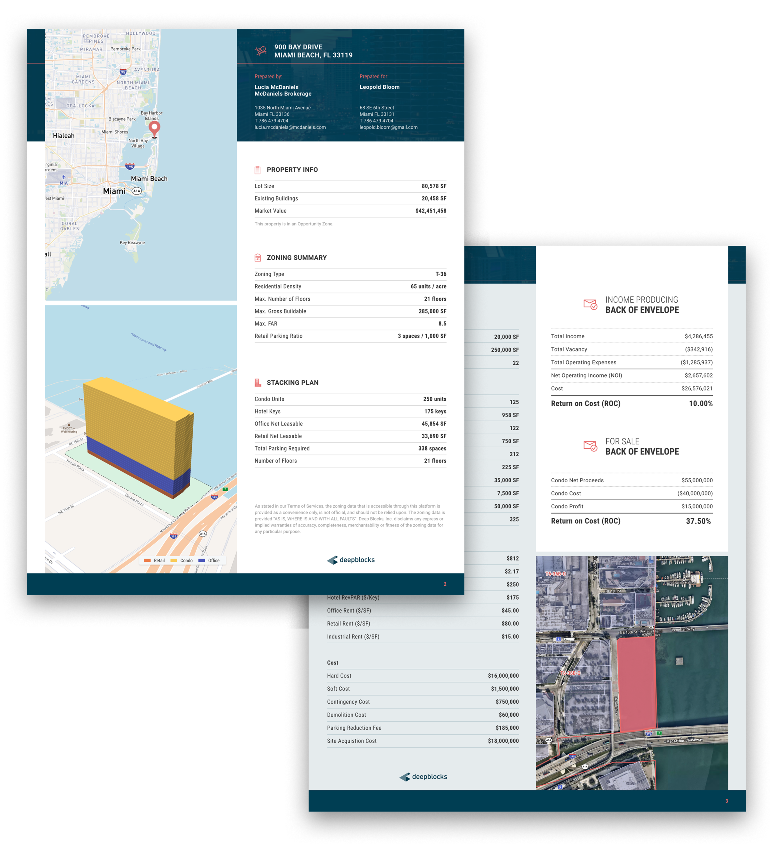 Property PDF Report, which includes a location map for the property, a stacking plan with legend, property info, list of assumptions, back of envelope calculation, and zoomed-in location map in satellite view.