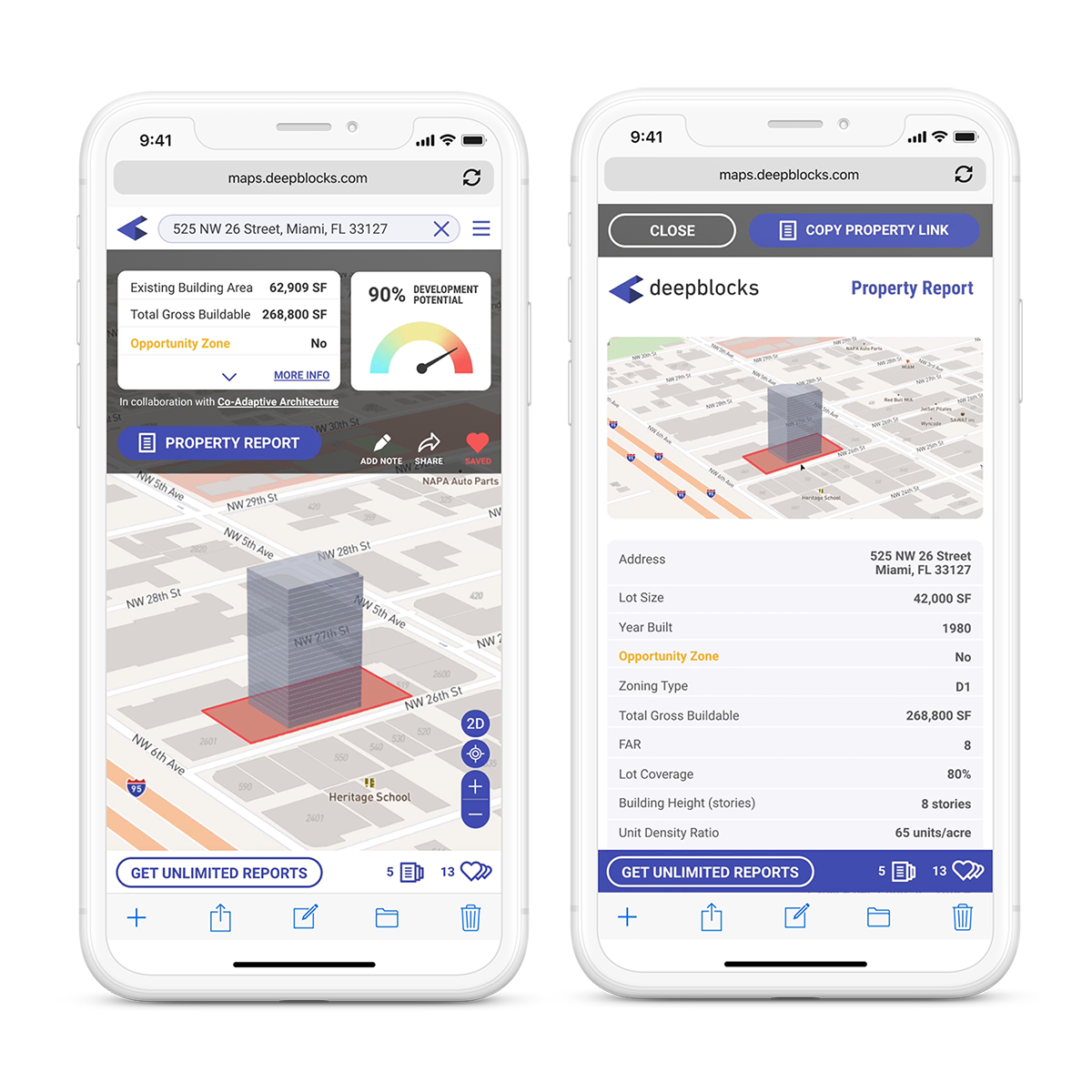 Deepblocks Maps app shown on two phones, with parcels in Opportunity Zones and data such as Total Gross Buildable, Lot Size, Uses Allowed, Zoning Type, etc.