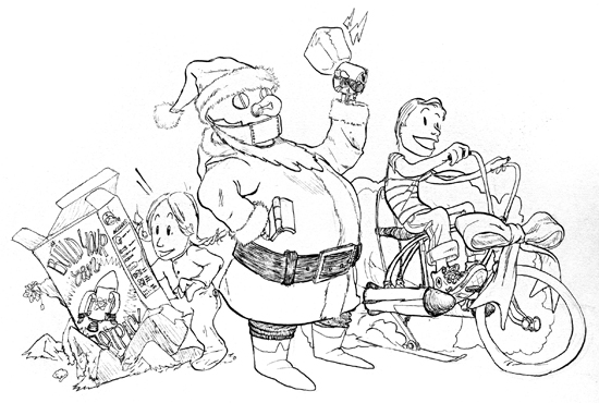 Illustration of a robot Santa Claus by Will Pierce (2011)