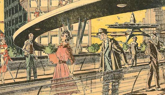 Futuristic moving sidewalks as illustrated by Arthur Radebaugh in 1959(Arthur Radebaugh)
