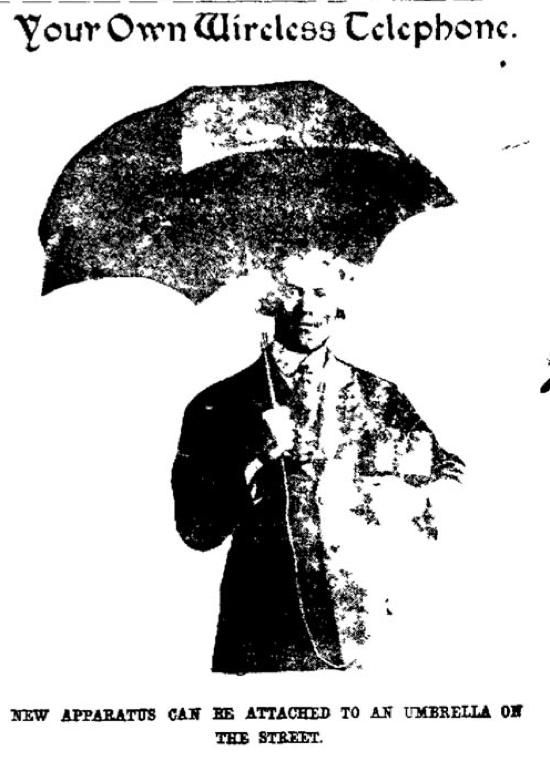 A crystal radio which uses an umbrella for its antenna(February 20, 1910 Washington Post)