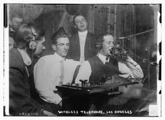 Men using radio technology circa 1910-1915, called Wireless Telephone at the time (Library of Congress)
