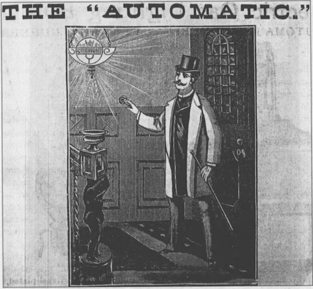 1888 ad for a push-button switch which targeted the wealthy (Smithsonian/Plotnick)