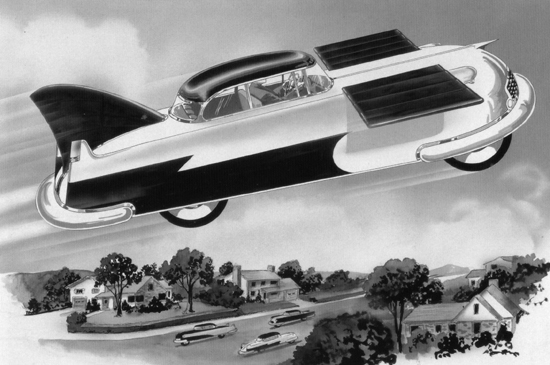 The atomic-powered flying car of the future by Frank R. Paul (1955)