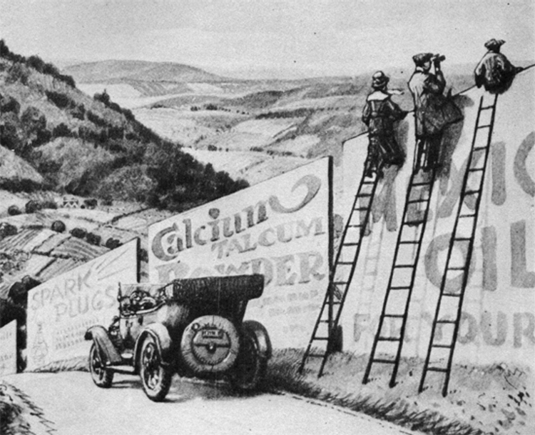 1917 illustration for Life magazine by Arthur T. Merrick showing motorists taking in the scenery