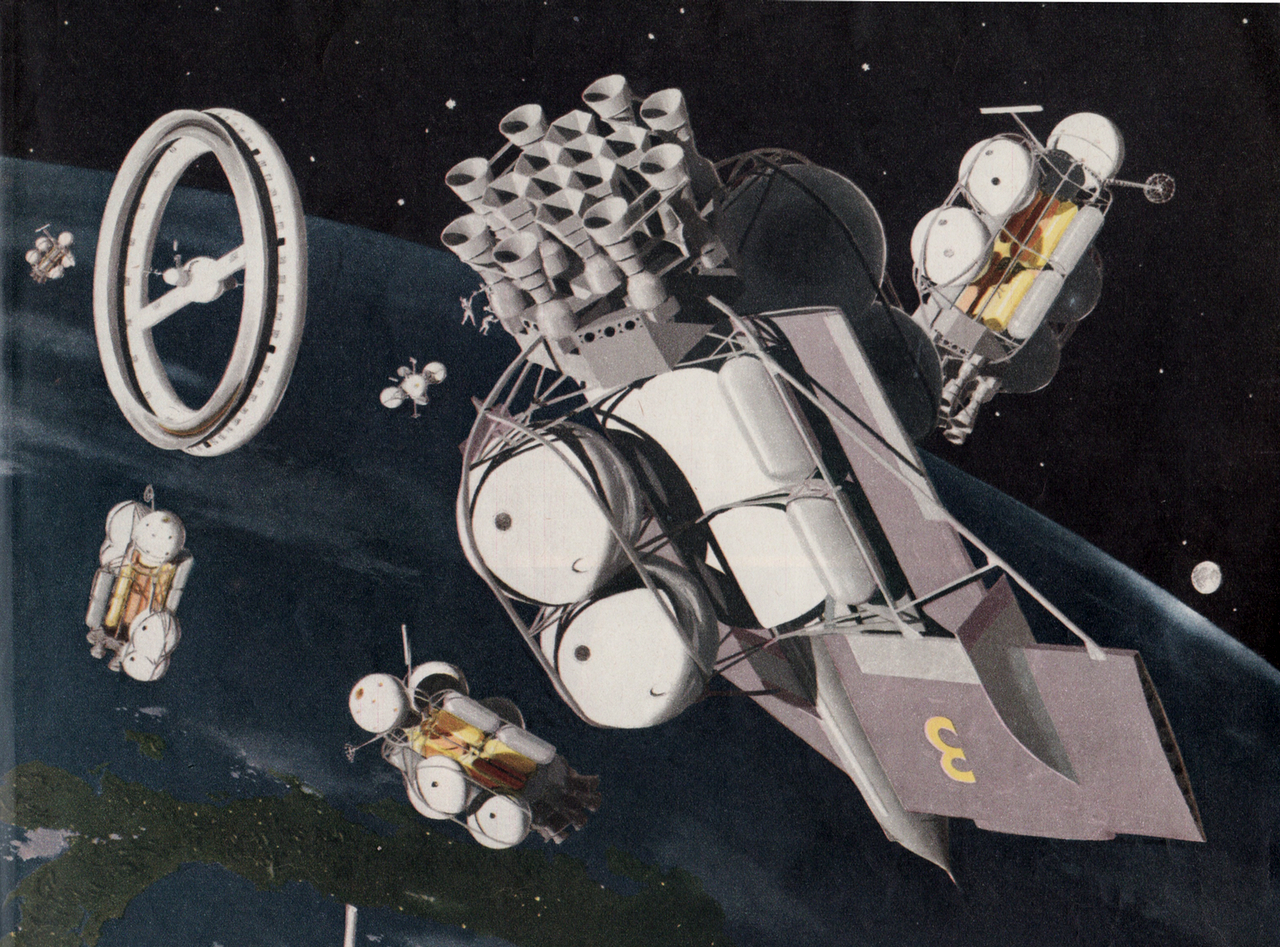 Spacecraft being assembled near the wheel-shaped space station, as envisioned by Wernher von Braun