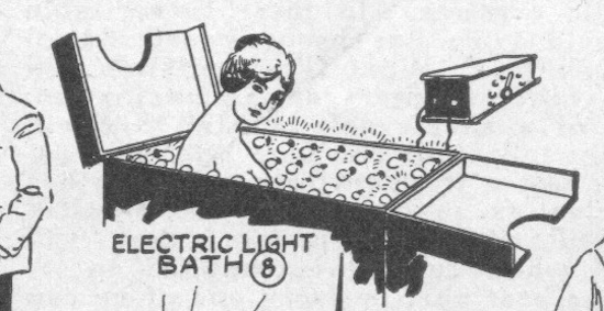 "The ""electric light bath"" at the 1919 New York Electrical Show (Novak Archive)"