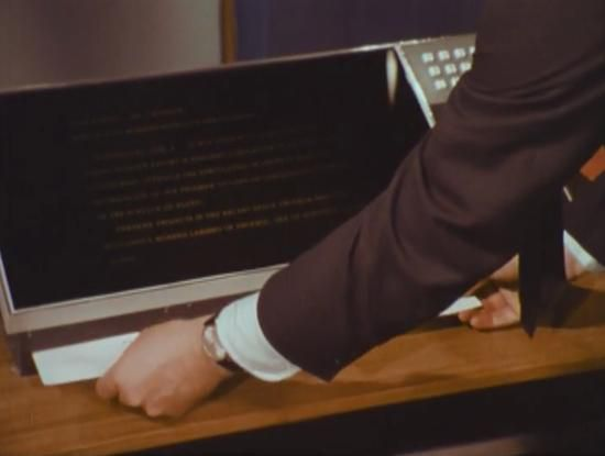 Walter Cronkite shows how the newspaper of the future will be delivered via satellite and printed (1967)(CBS)