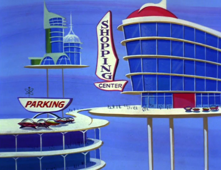 "Shopping center from the 21st episode of ""The Jetsons"" (1963)"