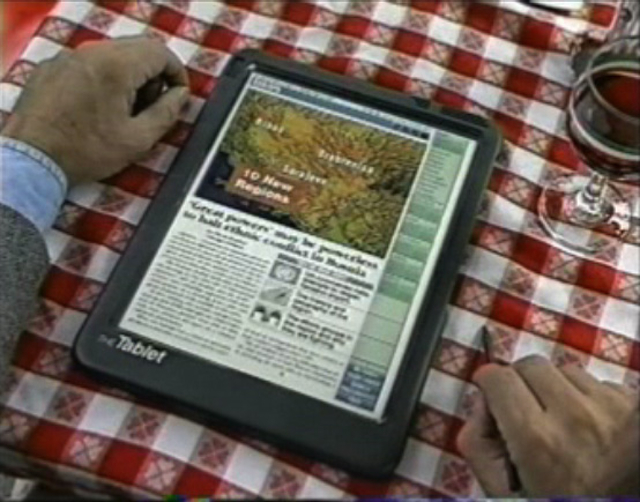 Tablet newspaper of the future from a 1994 Knight Ridder concept video