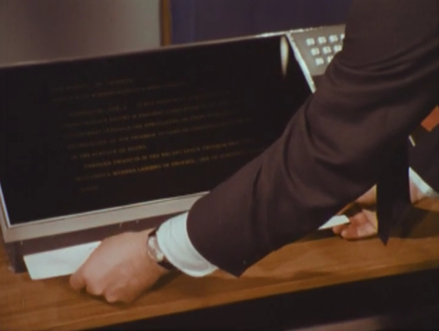 Philco-Ford's newspaper printer of 2001 as demonstrated by Walter Cronkite (1967)