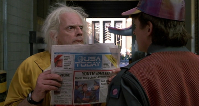 Doc holds a USA Today from the year 2015 in the film Back to the Future II (1989)