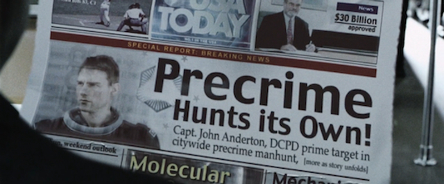 Digital newspaper of the year 2054 in the film Minority Report (2002)