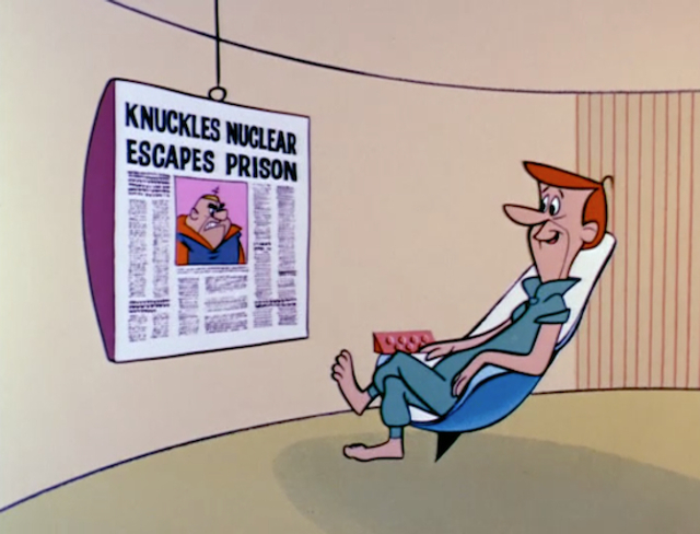 George Jetson reading the newspaper on his Televiewer (1962)