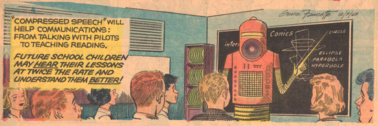 Robot teacher from the December 5, 1965 edition of the Sunday comic strip Our New Age (Novak Archive)