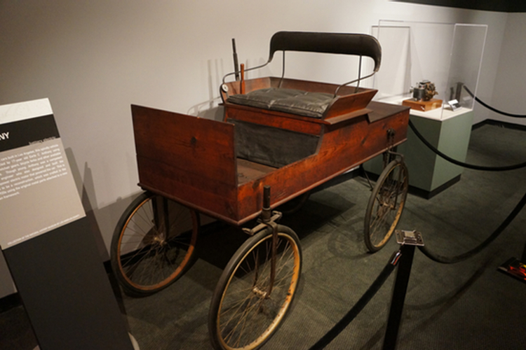 One of the first cars ever built in Los Angeles, made in 1897 by 17-year-old Earle C. Anthony (Photo by Matt Novak at the Petersen Automotive Museum in Los Angeles)